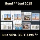 FRG MiNo. 3391-3398 ** New Issues Germany June 2018, incl. Self-adhesives, MNH