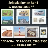 FRG MiNo. 3376-3398 ** Self-adhesives Germany Q2 2018, MNH