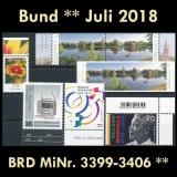 FRG MiNo. 3399-3406 ** New Issues Germany July 2018, incl. Self-adhesives, MNH