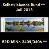 FRG MiNo. 3405/3406 ** Self-Adhesives Germany July 2018, MNH