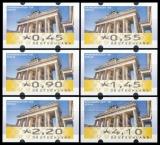 FRG MiNr. ATM 6 set 45-410 Euro cent ** Frama labels: Brandenburg Gate, MNH