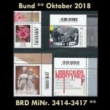 FRG MiNo. 3414-3417 ** New issues Germany october 2018, MNH