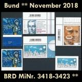 BRD MiNr. 3418-3423 ** Neuausgaben Bund November 2018, postfrisch
