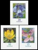 BRD MiNr. 3430-3432 Satz ** Dauerserie Blumen, selbstklebend, postfrisch