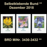 FRG MiNo. 3430-3432 ** Self-Adhesives Germany December 2018, MNH