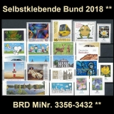 FRG MiNo. 3356-3432 ** Self-adhesives Germany year 2018, MNH