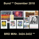 FRG MiNo. 3424-3432 ** New issues Germany december 2018, MNH