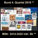 FRG MiNo. 3414-3432 ** New issues Q4 2018, MNH, incl. self-adhesives