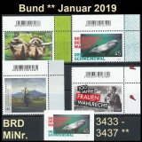 FRG MiNo. 3433-3437 ** New issues Germany january 2019, MNH