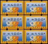 FRG MiNr. ATM 3 set 100-440 German pfennig ** Frama labels: post horn, MNH