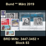 FRG MiNo. 3447-3452 + block 83 ** New issues Germany march 2019, MNH