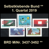 FRG MiNo. 3437-3452 ** Self-adhesives Germany Q1 2019, MNH