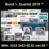 FRG MiNo. 3433-3452+block 83 ** New issues Q1 2019, MNH, incl. self-adhesives