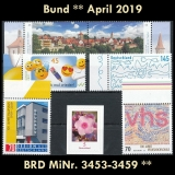 FRG MiNo. 3453-3459 ** New issues Germany april 2019 incl. self-adhesives, MNH