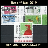 FRG MiNo. 3460-3464 ** New issues Germany may 2019, MNH
