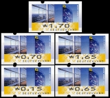 FRG MiNr. ATM 7 set 15-170 Euro cent ** Frama labels: Post Tower, VS 1, MNH