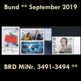FRG MiNo. 3491-3494 ** New issues Germany September 2019, MNH