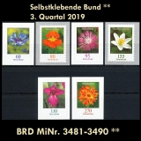 FRG MiNo. 3481-3490 ** Self-adhesives Germany Q3 2019, MNH