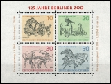 Berlin MiNo. Block 2 (338-341) ** 125 years Berlin Zoo, sheet, MNH