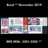 FRG MiNo. 3501-3505 ** New issues November 2019, MNH, incl. self-adhesives