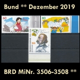 FRG MiNo. 3506-3508 ** New issues Germany December 2019, MNH