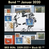 FRG MiNo. 3509-3521+sheet 85 ** Issues Germany January 2020 incl. self-adh., MNH