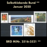 FRG MiNo. 3516-3521 ** Self-Adhesives Germany January 2020, MNH