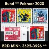 FRG MiNo. 3522-3526 ** New issues Germany February 2020, MNH