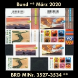 FRG MiNo. 3527-3534 ** New issues Germany March 2020, incl. self-adhesives, MNH