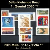 FRG MiNo. 3516-3534 ** Self-adhesives Germany Q1 2020, MNH