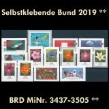 FRG MiNo. 3437-3505 ** Self-adhesives Germany year 2019, MNH