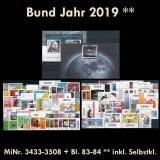 FRG Year 2019 ** MiNo. 3433-3508 & sheetlet 83-84 incl. self-adhesives