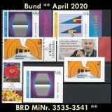 FRG MiNo. 3535-3541 ** New issues Germany April 2020, incl. self-adhesives, MNH