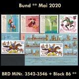 FRG MiNo. 3542-3546+sheetlet 86 ** Issues Germany May 2020, MNH